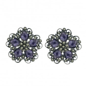 Marcasite Earring 5 Amethyst Cubic Zirconia Chess Cut Flower Petals