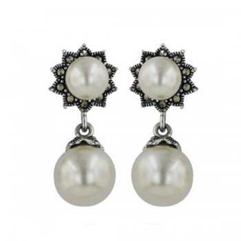 Marcasite Earring Shell Pearl Post+Shell Pearl Dangling