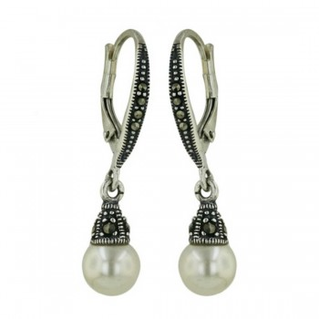 Marcasite Earring Leverback with Imitation Pearl