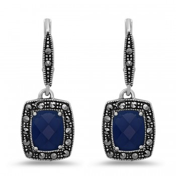 MARCASITE EARG 9X7MM CHESS CUT SAPPHIRE GLASS MARCASITE AROUND