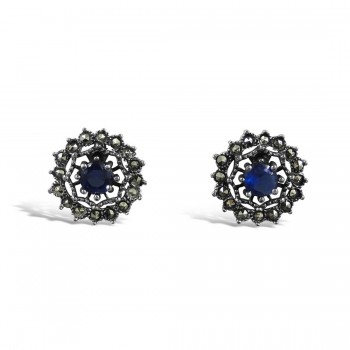 MARCASITE EARRING SAPPHIRE GLASS MS WEB OUTLINE