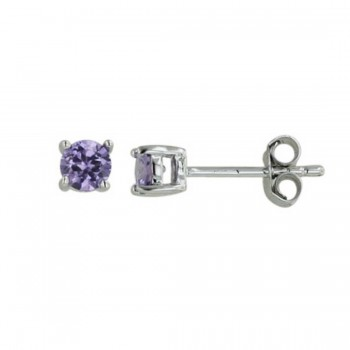 Sterling Silver Earring Amethyst Cubic Zirconia Round 4Mm Stud
