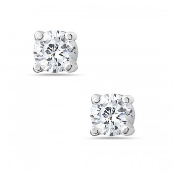 Sterling Silver Earring Clear Cubic Zirconia 6Mm Round Stud