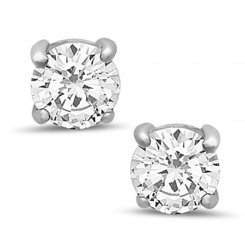 Sterling Silver Earring Clear Cubic Zirconia 8Mm Round Stud
