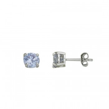 Sterling Silver Earring Lvndr Cubic Zirconia Round 4Mm Stud