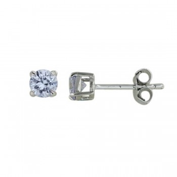 Sterling Silver Earring 5Mm Lvndr Cubic Zirconia Round Stud