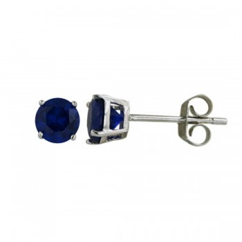 Sterling Silver Earring 5Mm Sapphire Spinel Round Stud Color Co