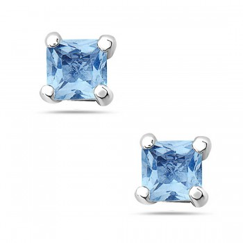Sterling Silver Earring 8Mmx8Mm Square Aqua Marine Glass Stud