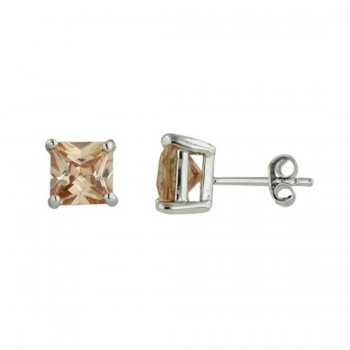 Sterling Silver Earring Champagne Cubic Zirconia Square Princess Cut 7Mm Stud