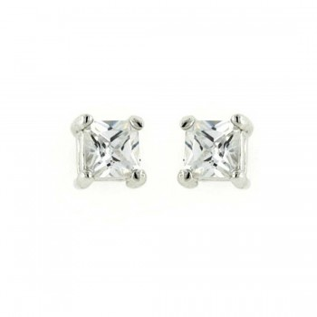 Sterling Silver Earring 4Mmx4Mm Princess Cut Clear Cubic Zirconia Stud