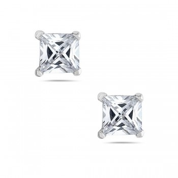 Sterling Silver Earring 6Mmx6Mm Square Princess Cut Clear Cubic Zirconia St
