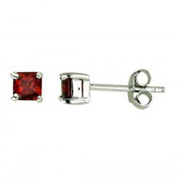 Sterling Silver Earring 4Mmx4Mm Square Stud