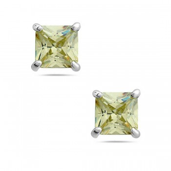 Sterling Silver Earring 8Mmx8Mm Square Lt.Oli. Cubic Zirconia Stud