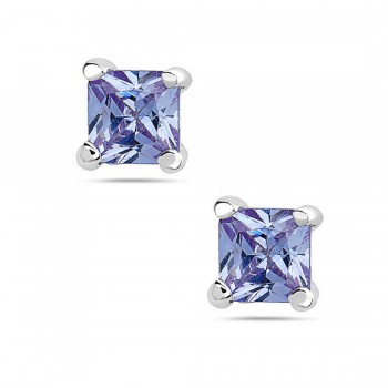 Sterling Silver Earring Clear Cubic Zirconia Square Princess Cut 7Mm Stud