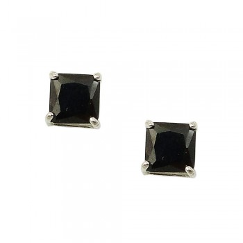 STERLING SILVER EARRING 5MMX5MM PRINCESS CUT BLACK CUBIC ZIRCONIA STUD