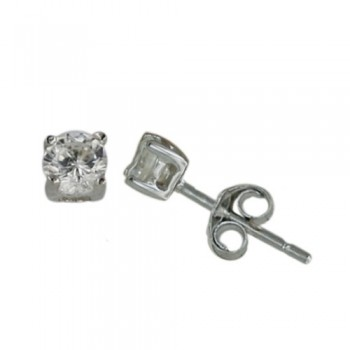 Sterling Silver Earring 3X3 mm Round Clear Cubic Zirconia Stud (4 Prongs)