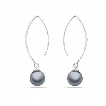 Sterling Silver Earring Almond Hook With 12 Mm Gray Glass Pearl B