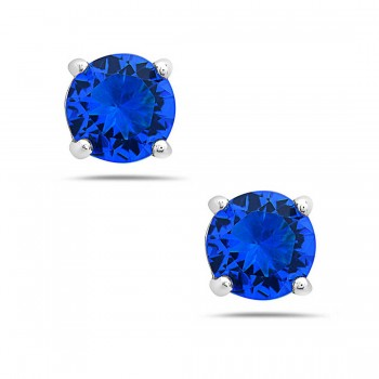 Sterling Silver Earring 5Mm Round Blue#108G Cubic Zirconia Stud
