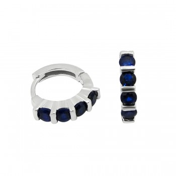 STERLING SILVER EARRING SAPPHIRE GLASS 4 PIECES  HUGGIE