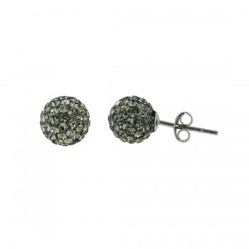 Sterling Silver Earring 10mm Black Diamond Cy Fireball--Rhodium Plating Plate