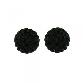 Sterling Silver Earring 8mm Black Crystal Fireball