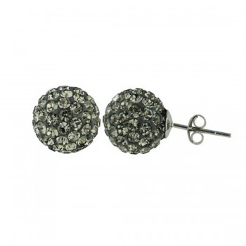 Sterling Silver Earring 12mm Black Diamond Cy Fireball