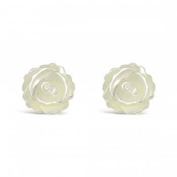Sterling Silver Earring 12X12mm White Mother of Pearl Roses Stud