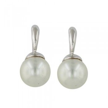 Sterling Silver Earring 12mm Faux Pearl with Post