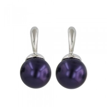 Sterling Silver Earring 12mm Faux Pearl Purple with Post