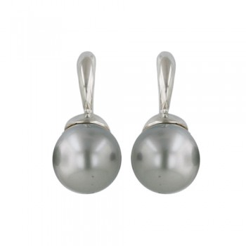 Sterling Silver Earring 12mm Faux Pearl Gray with Post