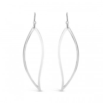 Sterling Silver Earring Leaf Line **E-Coated