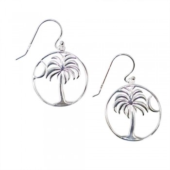 SS Earg Plain Palm Tree & Moon In Open Circle, Silver