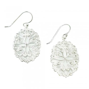 SS Earg Open Oval Swirl & Flower Filigree, Silver