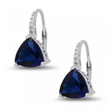 STERLING SILVER EARRING SAPPHIRE GLASS TRILLION ON CUBIC ZIRCONIA