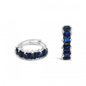 STERLING SILVER EARRING 6 SQUARE CUT SAPPHIRE GLASS