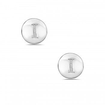 Sterling Silver Earring Stud Round Initial I Carved