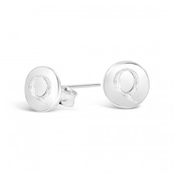 Sterling Silver Earring Stud Round Initial Q Carved