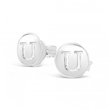 Sterling Silver Earring Stud Round Initial U Carved