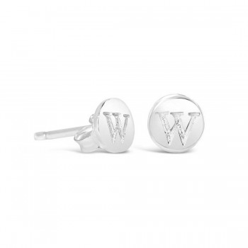 Sterling Silver Earring Stud Round Initial With Carved