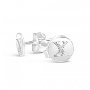 Sterling Silver Earring Stud Round Initial X Carved