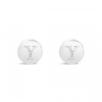 Sterling Silver Earring Stud Round Initial Y Carved-Ecoated
