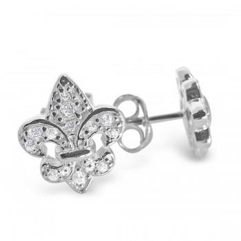 Sterling Silver Earring Fleur-De-Lis Clear Cubic Zirconia Stud