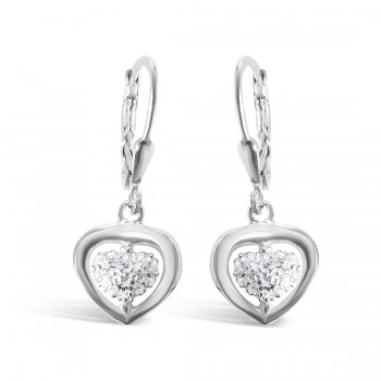 Sterling Silver Earring Heart Center Pave Clear Cubic Zirconia Lever Back