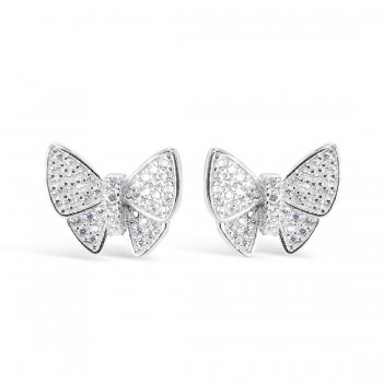 Sterling Silver Earrings Stud Butterfly Pave Clear Cubic Zirconia