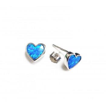Sterling Silver Earring Stud Heart Blue Synthetic Opal