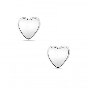 Sterling Silver Tiny Heart Plain Stud