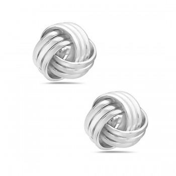 Sterling Silver Earring Post Love Knot Triple Lines 2S-7011E-7