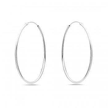 Sterling Silver Earring 50 Mm Plain Round Hoop 1.4 Mm Line