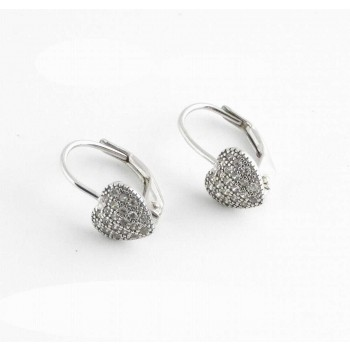 Sterling Silver Earring Puffy Heart Pave Lever Back