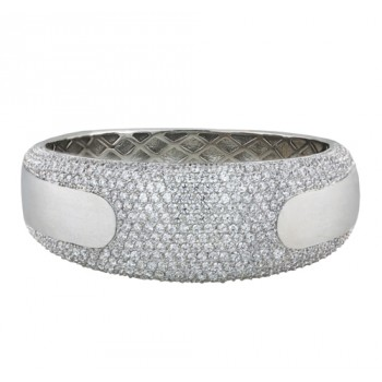 BRASS BANGLE WITH PAVE CLEAR CUBIC ZIRCONIA  @ CENTER WITH BRUSH T